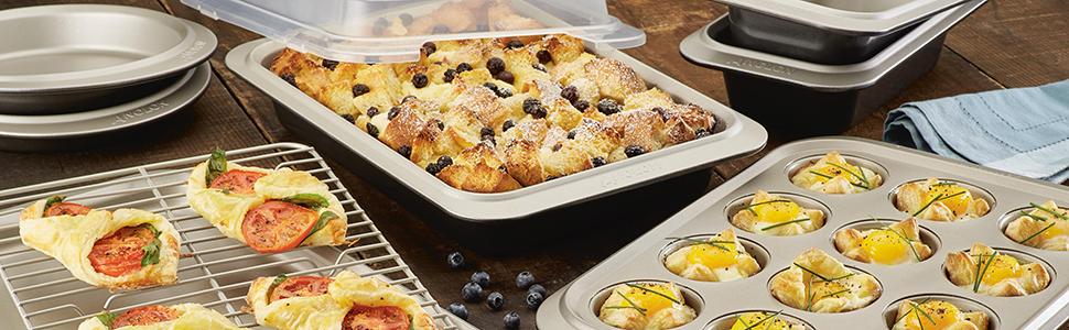 bakeware set, nonstick bakeware, Anolon Allure bakeware, cookie sheet, muffin pan, cake pan
