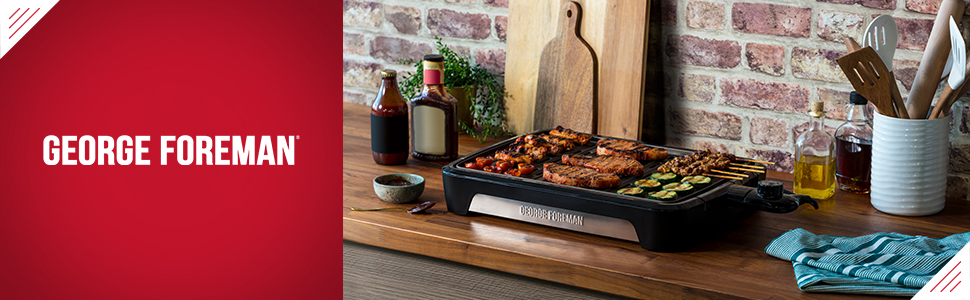 George Foreman 25850 Smokeless Electric Grill, Indoor BBQ and Griddle Hot Plate, Built In Drip Tray