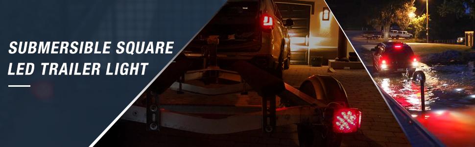 submersible square LED Trailer Light, stop turn tail light, utility trailer  boat trailer light,