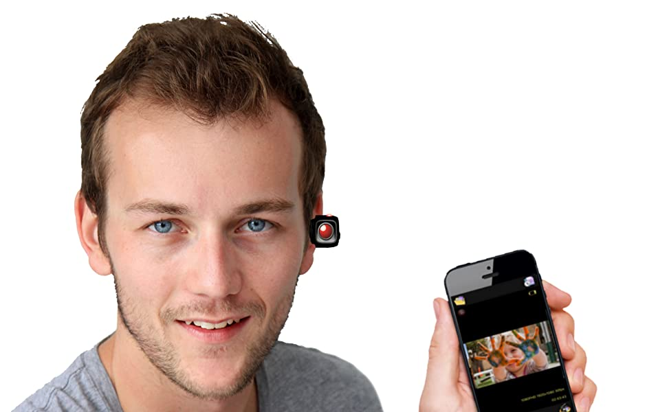 Man using HeadsUp Wireless Bluetooth Streaming Camera and holding cell phone
