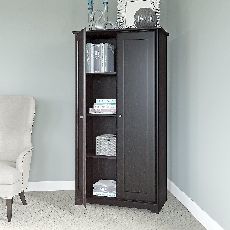 bush furniture cabot tall storage cabinet with doors in espresso oak kitchen dining. Black Bedroom Furniture Sets. Home Design Ideas