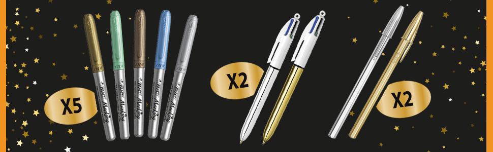 BIC surprise gift box Christmas birthday gift gold glitter pen gel pen markers Cristal