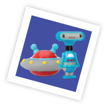 Robot razor toy and UFO squirt toy encourage motor skills