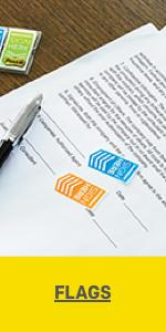 Post-it Flags on a document indicating where a signature is needed.