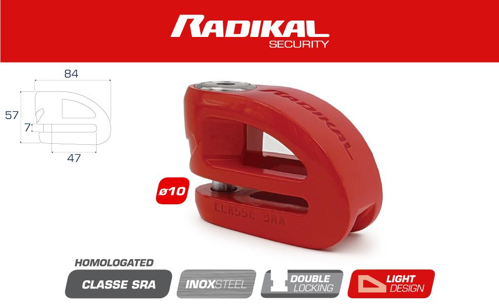 Radikal Rk310r Motorradschloss Doppelscheibenschloss ø10 Sra Zugelassen Polierter Edelstahl Rot Auto