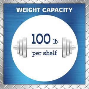 100 pound shelf capacity, kitchen shelves, wire closet shelving, laundry room shelving