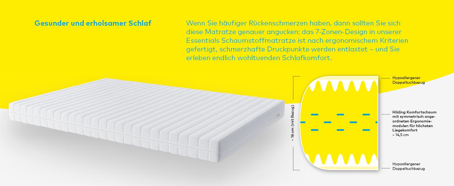 hilding sweden essentials schaumstoffmatratze in wei. Black Bedroom Furniture Sets. Home Design Ideas