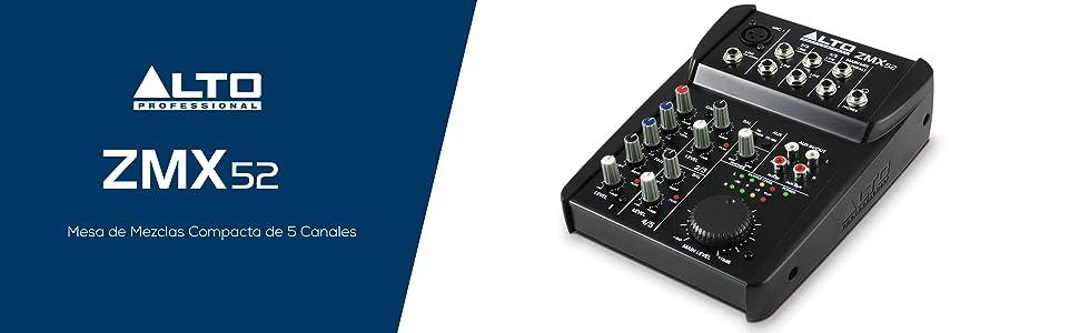 Alto Professional ZMX52 - Mesa de mezclas compacta de 5 canales ...