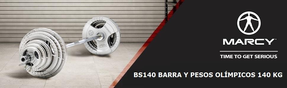Total 140 kg Marcy BS140 Barra ol/ímpica en acero macizo 213 cm Pesas de hierro fundido Rodamiento casquillos de bronce. Certificada hasta 315 kg