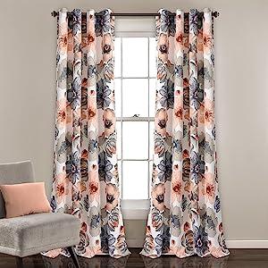 Amazon Com Lush Decor Leah Floral Darkening Window Panel
