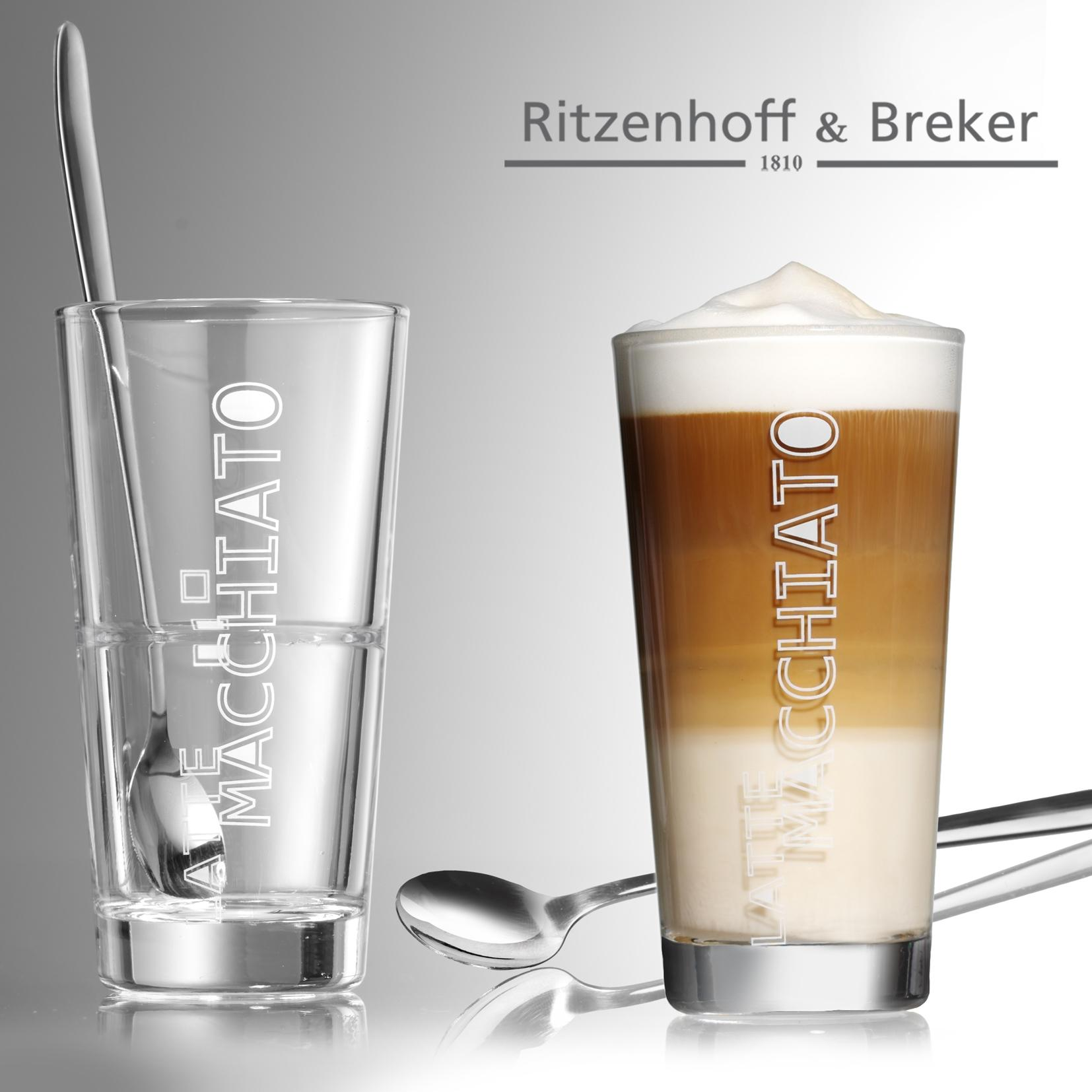 ritzenhoff breker latte macchiato gl ser lena mit l ffel 4 teilig 350 ml k che. Black Bedroom Furniture Sets. Home Design Ideas