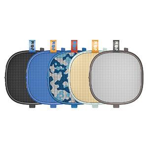 black speaker, blue speaker, gray speaker, camo speaker, cream speaker