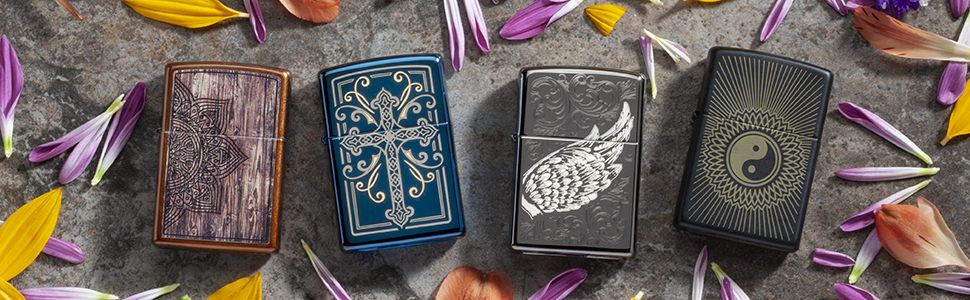 spiritual, spiritual lighters, zippo lighters, religious, cross, angel wings, mandala, yin and yang