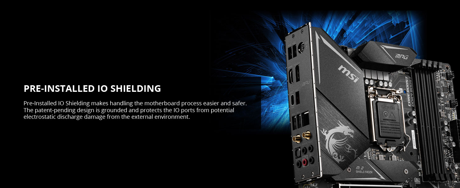 msi, mpg z490m gaming edge wifi, pre-installed io shielding, preinstalled rear io, back panel