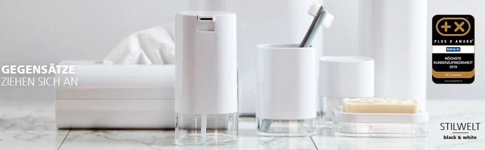 Stijlvolle zeepdispenser en -schalen, tandenborstelbeker, cosmetische blikjes, haken, planken en wc-sets