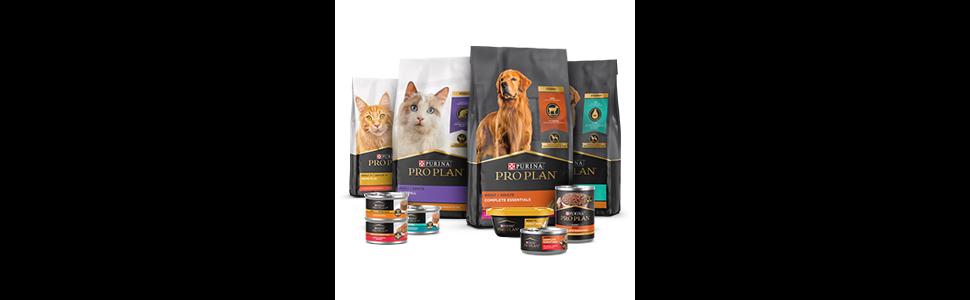 Varieties of Pro Plan dry cat food bags, wet cat food cans, dry dog food bags and wet dog food cans