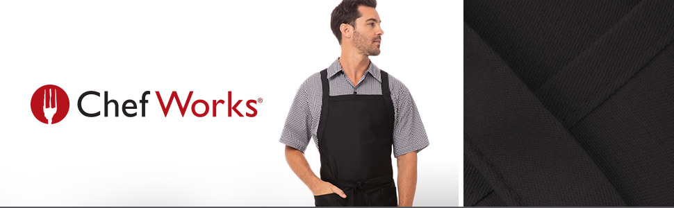 Chef Works Unisex Cross-Back Bib Apron, Black