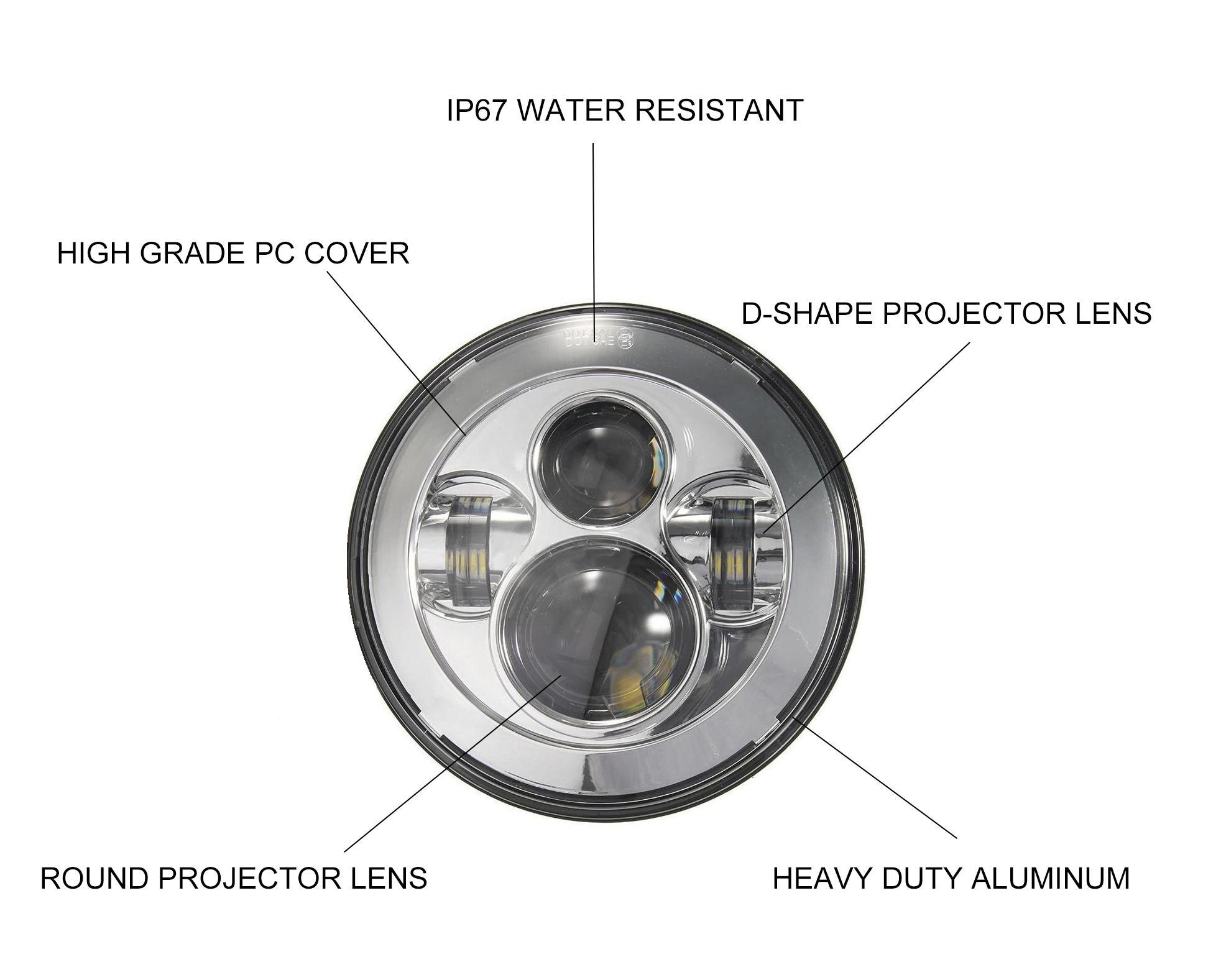 amazon com 7 chrome harley daymaker led headlight auxiliary lamp rh amazon com Simple LED Circuits LED Lamp Wiring Diagram