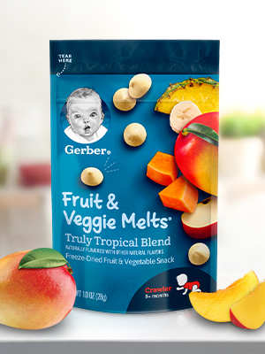 Gerber Fruit and Veggie Melts are made with real fruit & vegetable purees and juices