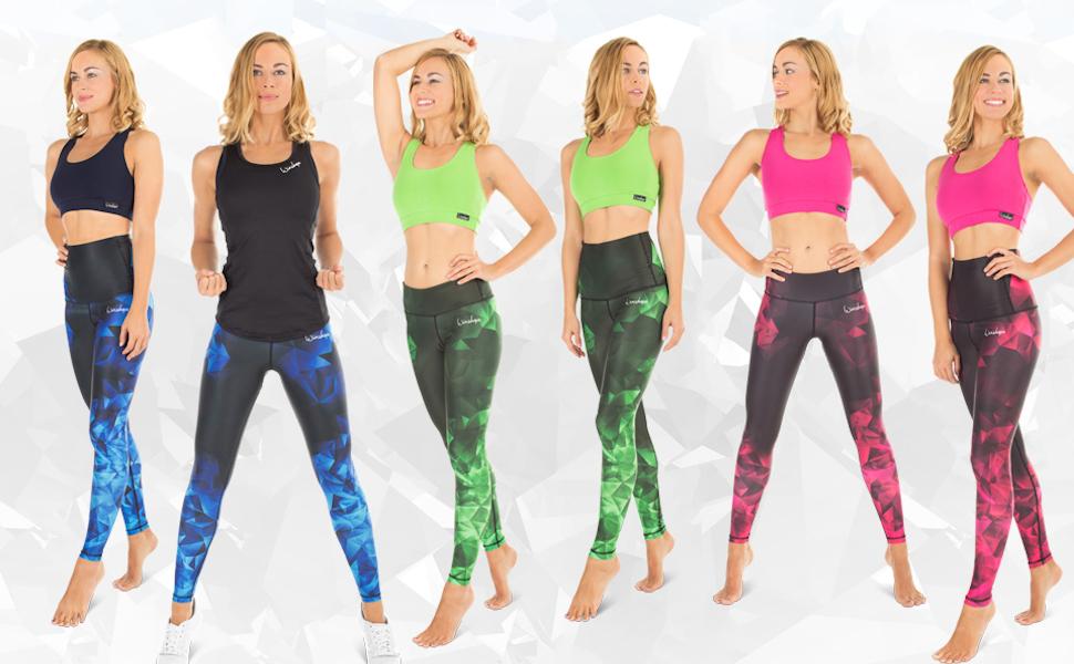 Fitness Freizeit Sport Yoga Workout Winshape Damen Functional Power Shape Tights Leggings AEL102 Falling Leaves  mit Anti-Rutsch-Effekt