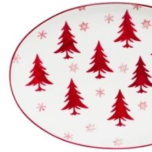 hand painted christmas design oval platter serving winter evergreen trees holidays winter