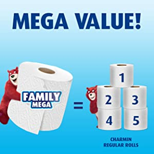 Get mega value with Charmin's long-lasting toilet paper.