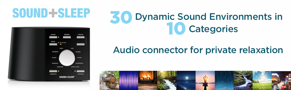 Sound+Sleep has 30 dynamic sound environments in 10 categories, and an audio connector
