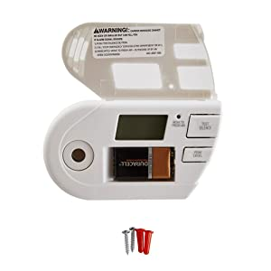 The alarm features a 9-volt backup battery to help ensure continued operation