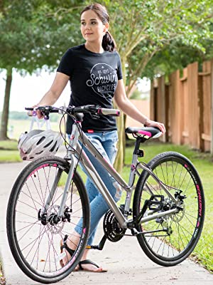 Schwinn Phocus 1500 Flat Bar Sport Fitness Hybrid Bikes, 17-Inch/Small  Step-Through or 19-Inch/Large Step-Over Aluminum Frame with Shimano  24-Speed