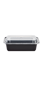 Karat 24 oz Black PP Microwavable Rectangular Food Containers amp; Lids