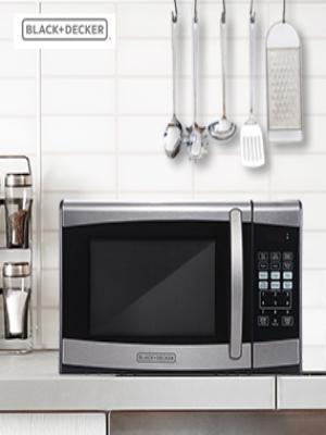 BLACK+DECKER EM925AZE-P 0.9 Cubic Foot 900 Watt Stainless Steel Microwave with Turntable, Cu.Ft, Black/Silver