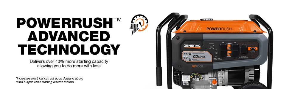 Generac,  GP6500, Portable, Generator, Power Rush
