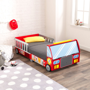 KidKraft Fire Truck Wooden Toddler Bed with Guard Rails, Children's Furniture - Red