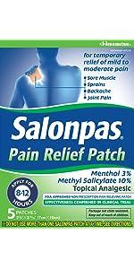 Salonpas pain relief patches 5 each health for Salonpas lidocaine 4 patch
