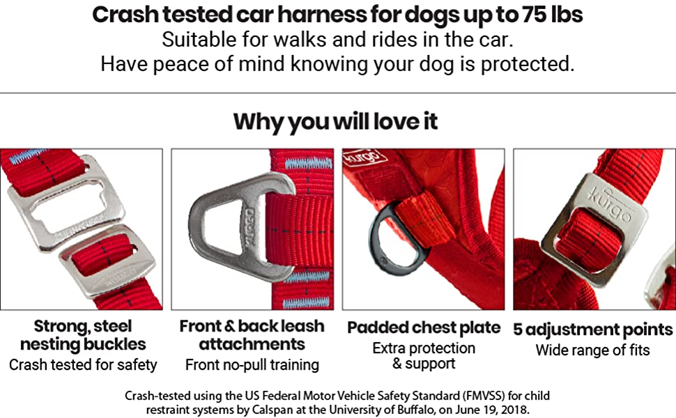 crash tested dog car travel safety harness