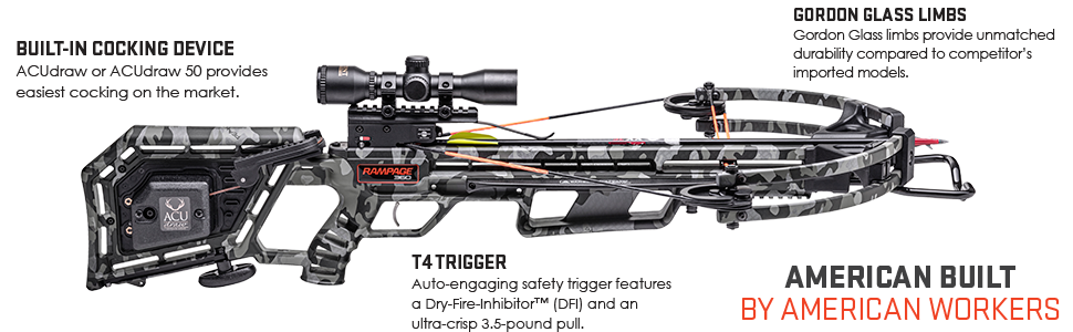 Wicked Ridge Rampage 360 crossbow features include the ACudraw cocking device and T4 Trigger.