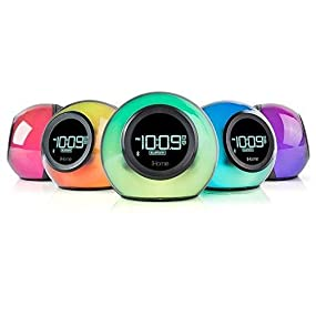 iHome Colour Changing Bluetooth Enabled Alarm Clock Speaker, 13 4 x 15 3 x  15 cm