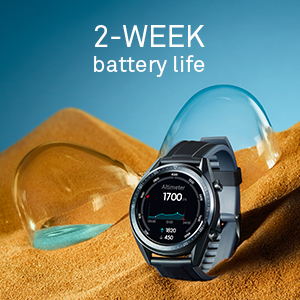fitness watch with a 2-week battery life