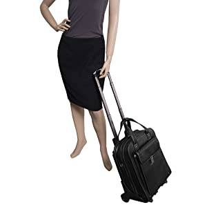 """Manequin Carrying the Black 15"""" Leather Vertical Patented Detachable -Wheeled Laptop Briefcase"""