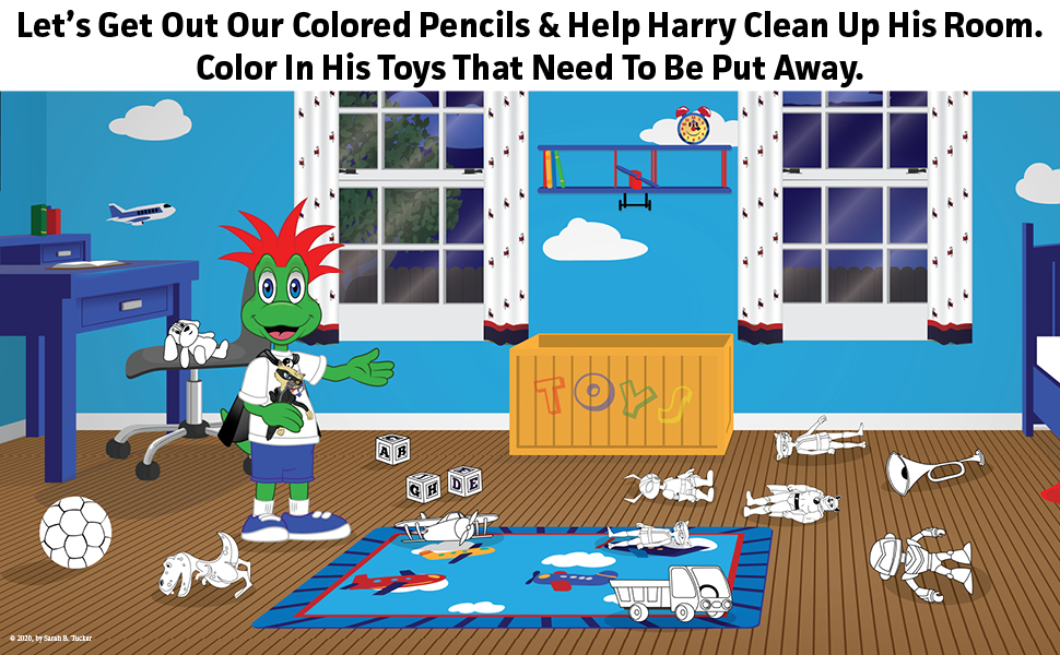 colored pencils, interactive book for kids, coloring for kids, books about cleaning up room