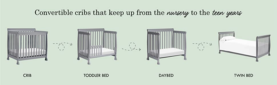 DaVinci Kalani crib in 4 different crib and bed configurations