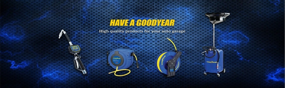 goodyear reelworks hose reel air water compressor 1/4quot; 3/8quot; 50' 100' tool home hand crank automotive