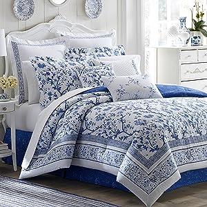 blue bedding;blue comforter set;queen comforter set;king comforter set;floral bedding;floral bedding