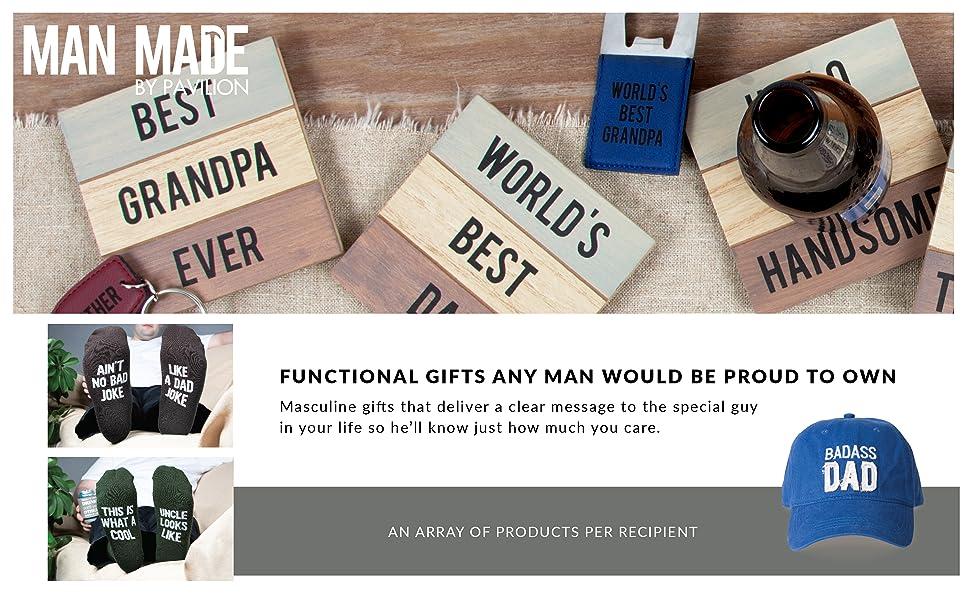 Man Made; gifts for him; sock; dad; mug; husband; grandpa; handsome; best ever; man; masculine