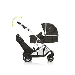 manillar ajustable en altura Hauck Duett 3 carro hasta 36 kg con cubierta de lluvia convertible y asiento giratorio gris gemelar con capazo para recien nacido segundo asiento extra/íble