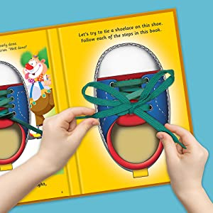 Child tying shoelaces in the back of I Can Tie My Own Shoelaces book