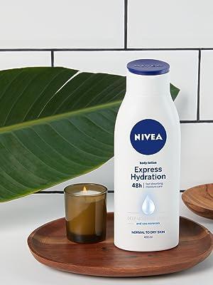 Lait fluide hydratant intense 48 heures peau soin corps sèche sensible nivea amazon
