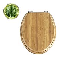 De wc-bril van echt donker bamboe brengt tropische flair in elke badkamer