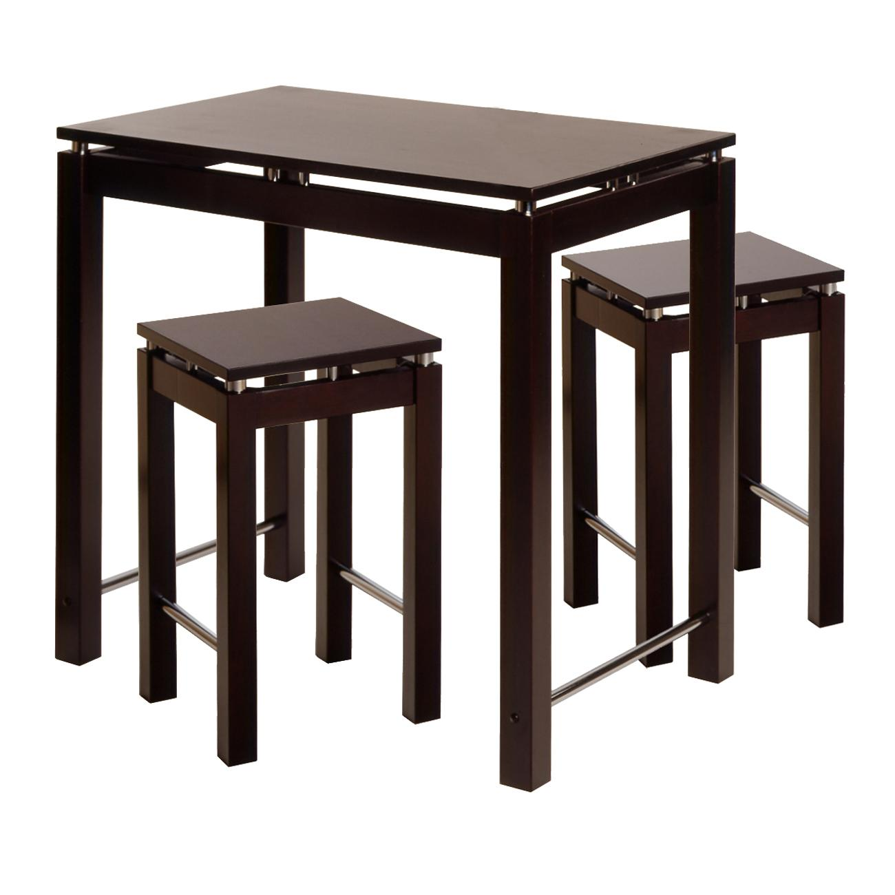 Linea 3pc Pub Kitchen Set Island Table With 2 Stools