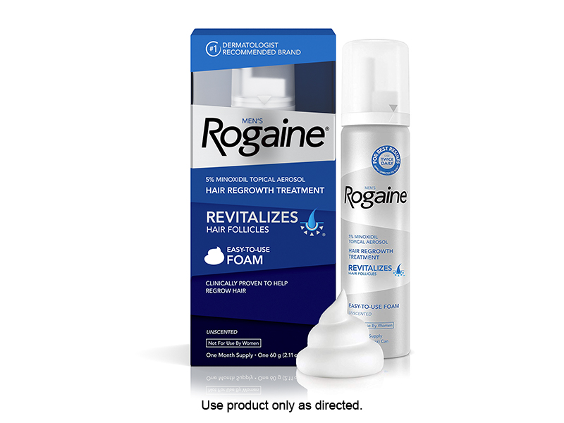 MEN'S ROGAINE FOAM PENETRATES INTO THE SCALP TO REGROW FULLER, THICKER HAIR.